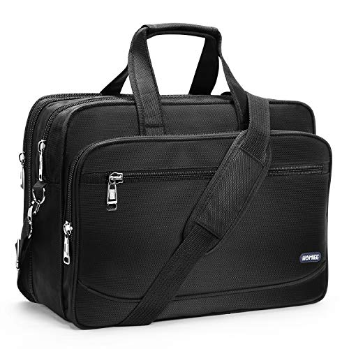 """HOMIEE 17 Inch Laptop Bag Large Business Briefcase Expandable Messenger Shoulder Bag with Organizer Durable Travel Carrying Case for Travel/Business/School/Men/Women Fits 15.6-17"""" Computers, Black"""