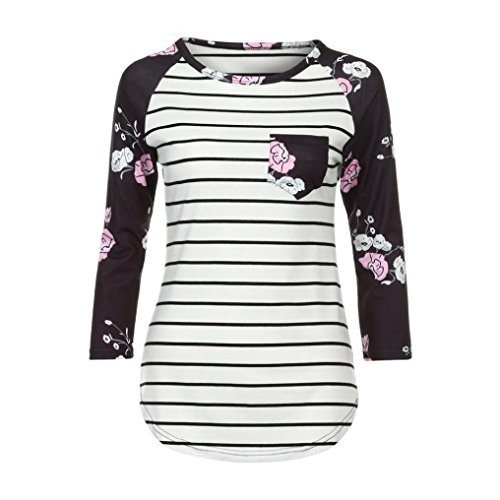 Long Sleeve Tops, Hmlai Women Autumn Long Sleeve Stripe Floral Shirt Casual Blouse Tops