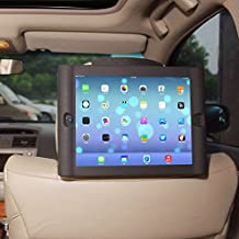 TFY Kids Car Headrest Mount Holder for iPad 4 / iPad 3 / iPad 2 - Detachable Lightweight Shockproof Anti-slip Soft Silicone Handle Case, Kids Security Hands-Free Headrest Travel Bracket Stand for Road Trip - Provide Entertainment for Kids - Black