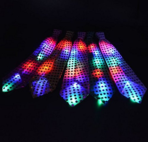 URbeauty 5Pcs LED Colorful Unisex Sparkly Elasticated Glitter Sequins Light Up Necktie Blinking Flash Glow Tie Flash Lighting Tie Party Show Favor Stage Performance Decoration Event Birthday Wedding]()