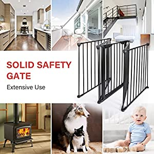 Teekland Baby Safety Gate/Fence/Play Yard with Door,5 Panels Fireplace Extended Metal Fence for Pet/Toddler/Dog/Cat