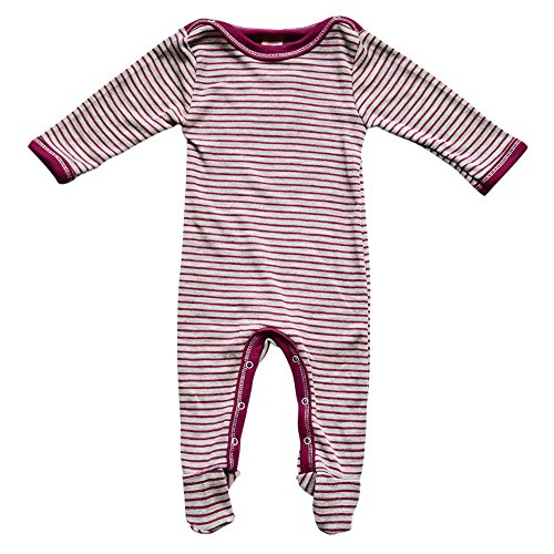 EcoAble Apparel Baby Footed Romper Overall w/Long Sleeves, Organic Merino Wool and Silk (86-92cm/12-24months, Maroon) (Wool Overall)