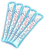 sea glow cleaner - Brite Boltz - Gender Reveal Boy Inflatable Blue Light Up Bang Bang Spirit Sticks - Baby Party Cheering Sticks 5 Pack