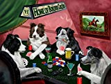 Home of Border Collie 4 Dogs Playing Poker Art Portrait Print Woven Throw Sherpa Plush Fleece Blanket (37x57 Sherpa)