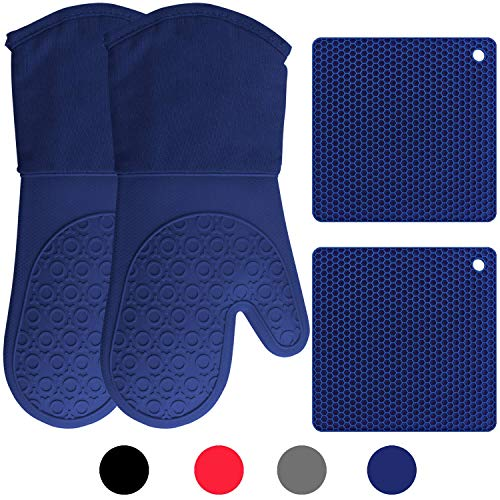 Silicone Oven Mitts and Potholders (4-Piece Set) Heavy Duty Cooking Gloves, Kitchen Counter Safe Trivet Mats   Advanced Heat Resistance, Non-Slip Textured Grip (Royal Blue)