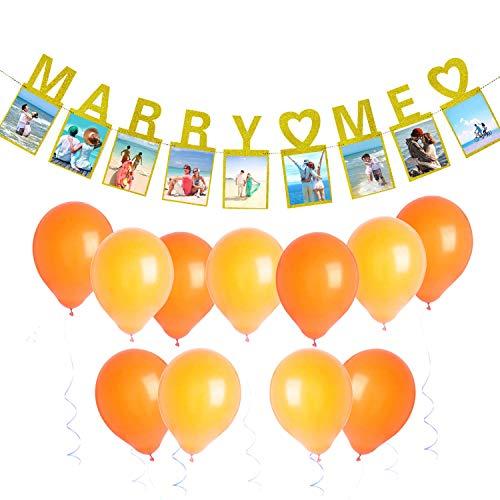 Gold Marry Me Photo Banner, Seasonsky 1 PCS