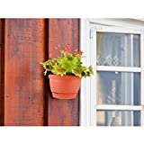 T4U Wall Hanging Planter Pots Outdoor Use Plastic 6 Inch Red Set of 2, Small Self Watering Wall Mounted Flower Plant Basket for Home Garden Porch Balcony Kitchen Wall Decoration Wedding Gift