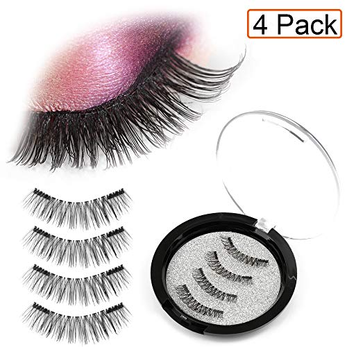 [1 pack 4pcs] Dual Magnetic False Eyelashes Fake Lashes - Reusable and Easy to Apply Ultra Thin Magnets, Half-Lash, Natural Look
