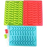 XMOWES 3 Pack Gumdrop Jelly Molds, Chocolate Molds, Soap Molds,Candy Silicone Molds & Ice Cube Trays, caterpillar,Snakear