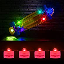 ShineMe® LED Skateboard Light Waterproof Shining Under glow Electronic Aquarium Colorful Lamp Round Waterproof Candle Light LED Diving Lamp (4PCS&12PCS))-Green,Blue,Red,Pink (4PCS Red)