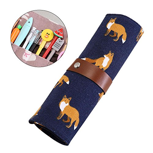 Scroll Roll (KOBWA Canvas Pencil Wrap Holder, Creative Personalized Cute Roll up Pencil Case, Portable Pen Pouch Carrier Bag Scroll Organizer Storage for School Office Art Craft)