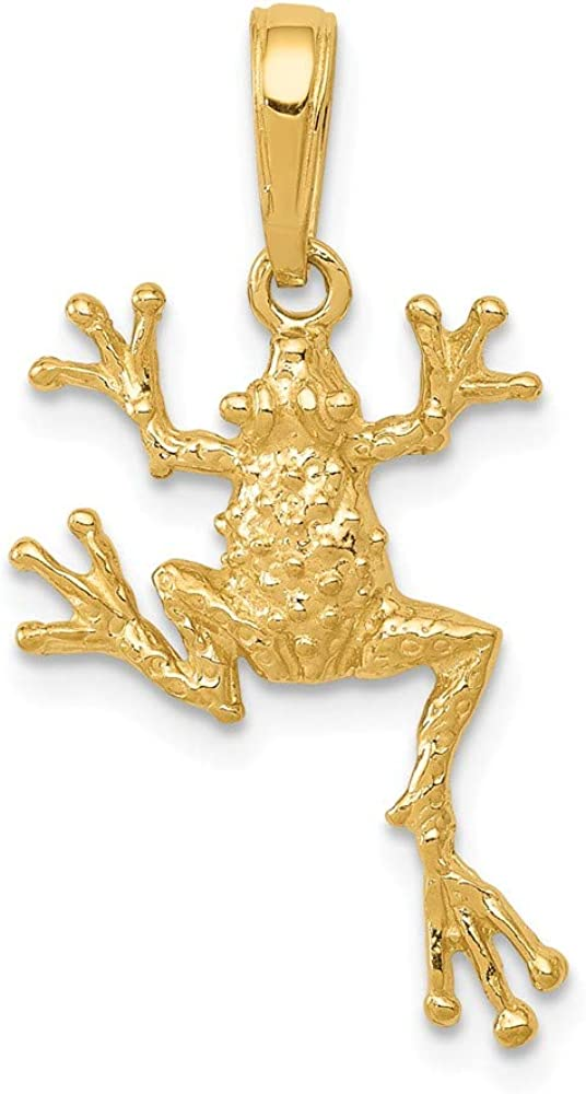 Beautiful Yellow gold 14K 14k Solid Polished Open-Backed Frog Pendant 51VwMHR5mGLUL1000_