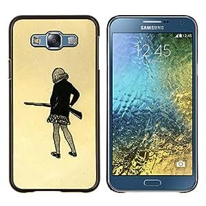 """For Samsung Galaxy E7 E700 Case , Chica pistola Art Dibujo mini falda lápiz Shoot"""" - Diseño Patrón Teléfono Caso Cubierta Case Bumper Duro Protección Case Cover Funda"""