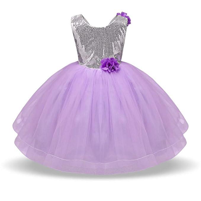 48876a6d9 Xmiral Bebés Niñas Vestido de Tutú Lentejuelas Brillo Princesa Traje para  Ceremonia con Flor Elegante para