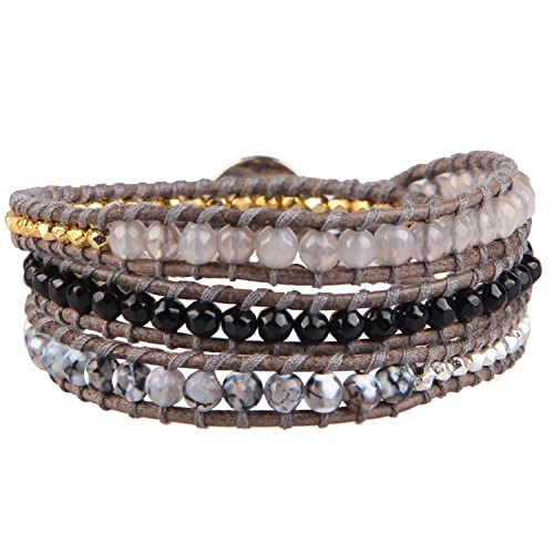 KELITCH Dragon Vein Agate, Black Onyx, Gray Agate Metal Nugget Bead 3 Wrap Leather Bracelet