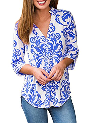 Sumtory Floral Blouses Tops For Women 3/4 Sleeve V Neck T-Shirt Blue XXL