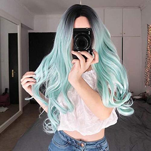 Wig Wave Long Curly Hair Ombre Women Synthetic Natural Fluffy Heat Resistant Curls Ladies Cosplay Halloween Party, 70-75cm (Color : Cyan Ombre) ()