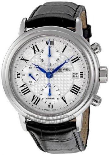 Raymond Weil Men's 7737-STC-00659 Maestro Black Leaher Strap Watch
