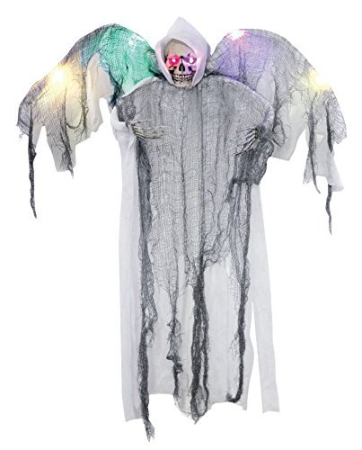 Hanging White Winged Reaper Halloween Prop Zombie Sounds Animated