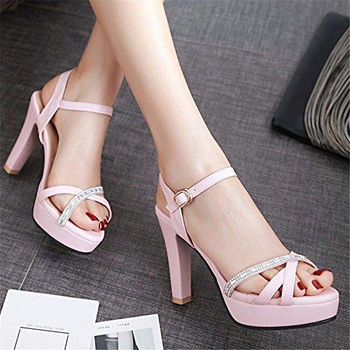 YMFIE Moda Europea de Verano Temperamento Dedo del pie Sandalias de tacón Alto Partido de la Mujer de Baile de la Boda Tacones Altos Tamaño Europeo: 34-43 B