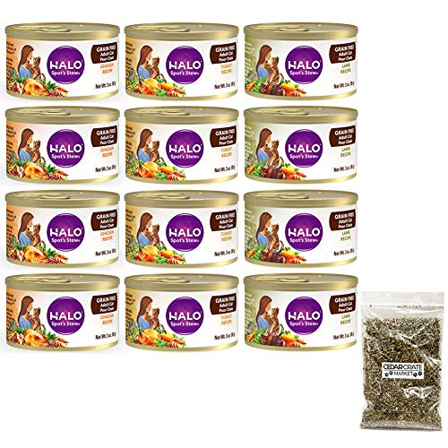 Halo Cat Food | Spot's Stew Wet Cat Food Variety Pack | 3 Ounces Each | 3 Flavors - Chicken, Turkey, and Lamb | 12 Total Cans Canned Cat Food with Bag Of Catnip | Grain Free Cat Food Flavor Sampler
