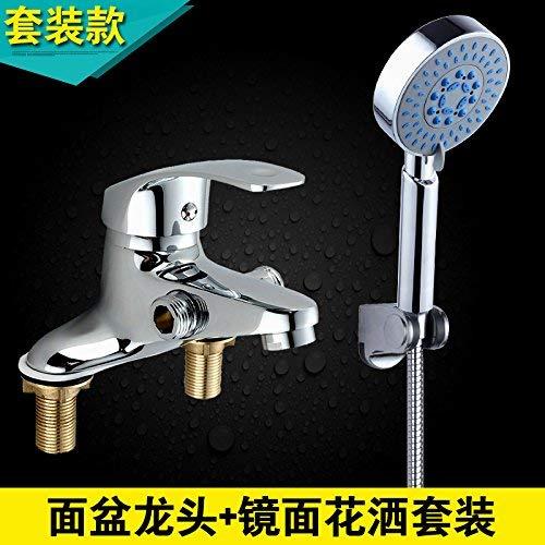 JingJingnet シャワーヘッド付き洗面台洗面台洗面台コンソール付きフル銅盆地の蛇口を聞くには、洗面器ミキサー+ブーストシャワーキットをダブルタップします (Color : 4) B07RY257RM 4