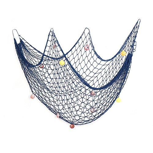 Room Party (Decorative Fish Net Blue Yagote Mediterranean Style Nautical Decorative Fishing Net with Shells for Home Party Room Decoration 1.5 X 2meter Blue)