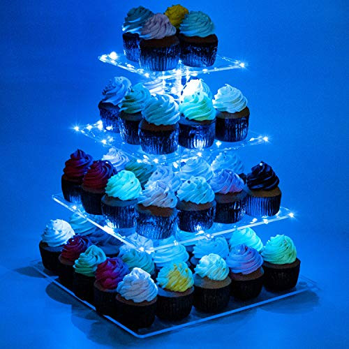 Kootek 4 Tier Acrylic Cupcake Stand with LED String Lights Dessert Tower Tiered Tree Square Cake Display Stands Pastry Serving Platter for Party Wedding Birthday Holidays Buffets (Blue)