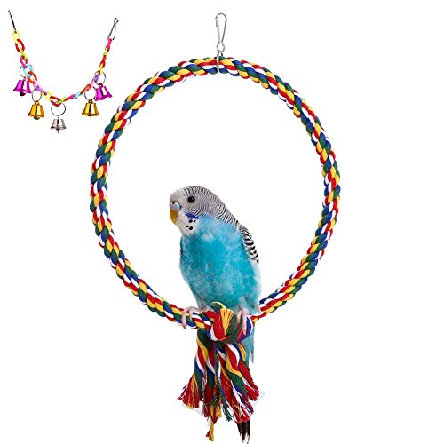 QBLEEV Bird Rope Perch Swing Toy with a Colorful Hanging Bell Toy, Natural Non-toxic Pet Bird Cage Hammock for Small Animals Parakeets Cockatiels Conures, Macaws Parrots Love Birds Finches [2 PACK] by QBLEEV
