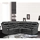 BestMassage Recliner Sofa Sectional Sofa With Recliner For Home Living Room With 2 Reclining Seat Large Classic And Traditional Furniture