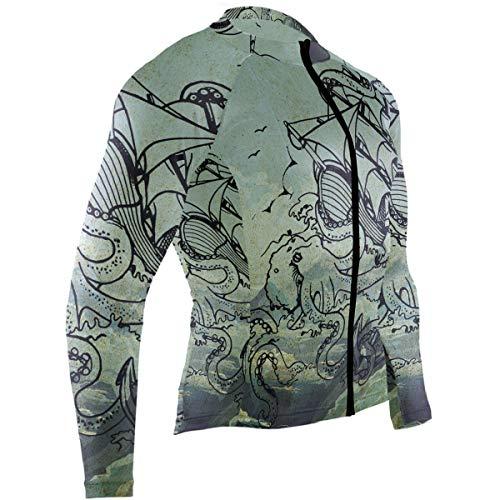 - Men's Cycling Jerseys Pirate Ship Octopus Quick Dry Bike Jacket Long Sleeve Shirt Tops Zipper Pockets
