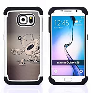- dog puppy sketch grey artist art cartoon/ H??brido 3in1 Deluxe Impreso duro Soft Alto Impacto caja de la armadura Defender - SHIMIN CAO - For Samsung Galaxy S6 G9200
