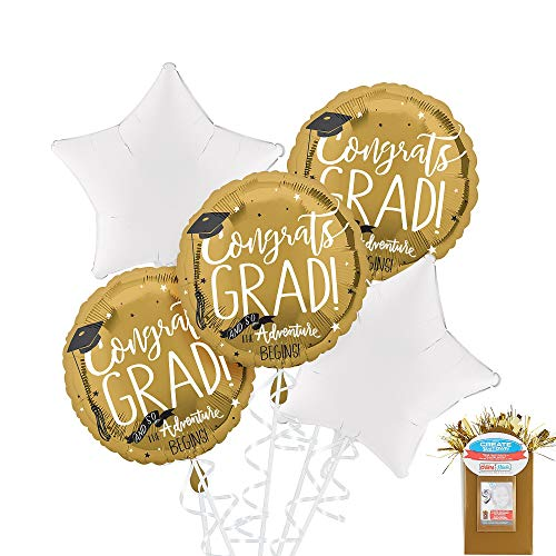 Party City Congrats Grad 5 Count Balloon Kit, Gold 2019 Graduation Party Supplies with Foil Balloons and Curling Ribbon]()