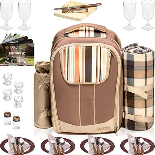 Kitchen Supreme Picnic Backpack with Insulated Cooler| Best Picnic Basket Bag for 4 with Complete Tableware Set, Waterproof Fleece Blanket & Detachable Wine Holder