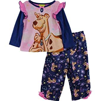 "Scooby-Doo ""Cute"" Toddler Girls Blue Pajama Set Size 2T-4T (2T)"