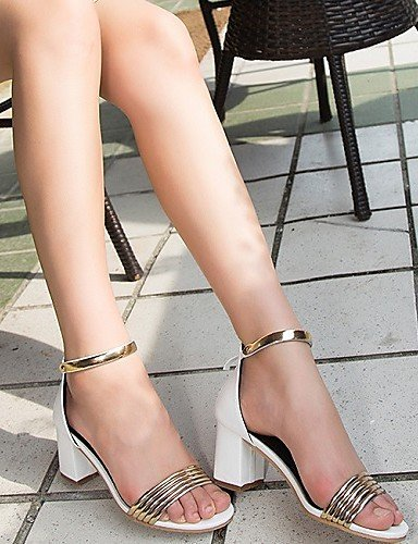 ShangYi Women's Shoes Leatherette Chunky Heel Heels Sandals Office & Career / Dress / Casual Black 9tdVgW3sn