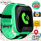 Xenzy Kids GPS Smartwatch Phone Tracker Device Cell Phone Smart Watch Parents Control Camera SOS Anti-lost Alarm Clock Flashlight Bracelet for Boys Girls Summer Holiday Outdoor Prime Gifts, Green