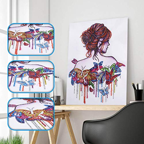 Amersin DIY 5D Special Shaped Diamond Painting by Number Kits, Full Drill Rhinestone Embroidery Cross Stitch Pictures for Christmas Home Decor (Girl 2)