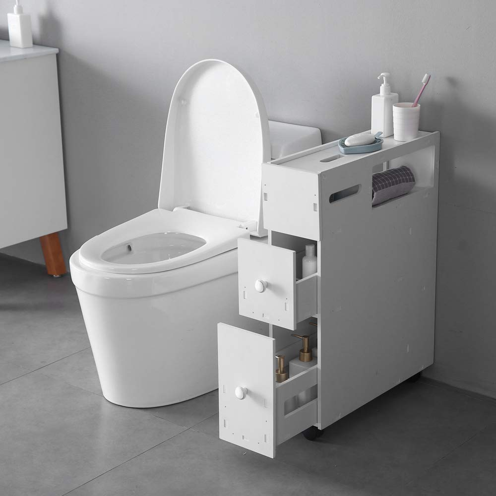 SSLine Slim Bathroom Floor Cabinet Wood Bathroom Storage Organizer Toilet Paper Holder Bath Space Saver Corner Gap Narrow Storage Cabinet for Washroom Laundry Room Soft White