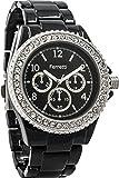Ferretti Women's | Sophisticated Black Diamond-Studded Bezel Bracelet Watch | FT12803