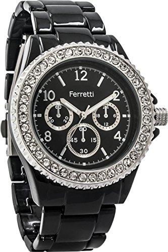 Ferretti Women's | Sophisticated Black Diamond-Studded Bezel Bracelet Watch | FT12803 (Studded Bezel)