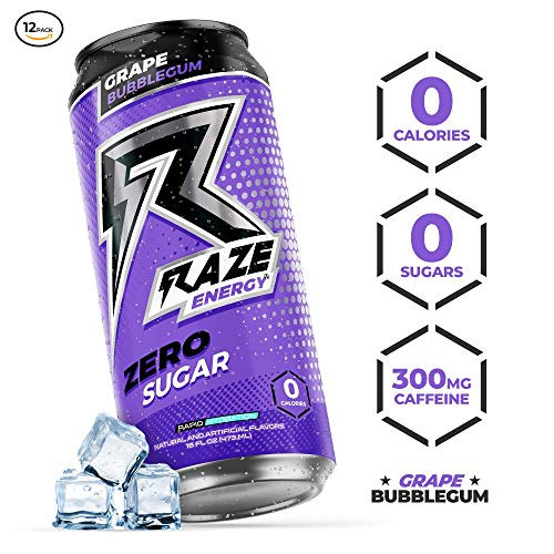 Raze Energy Drink   Performance and Hydration   Sugar Free, Zero Calorie Energy Drink - Grape Bubblegum 12 Pack