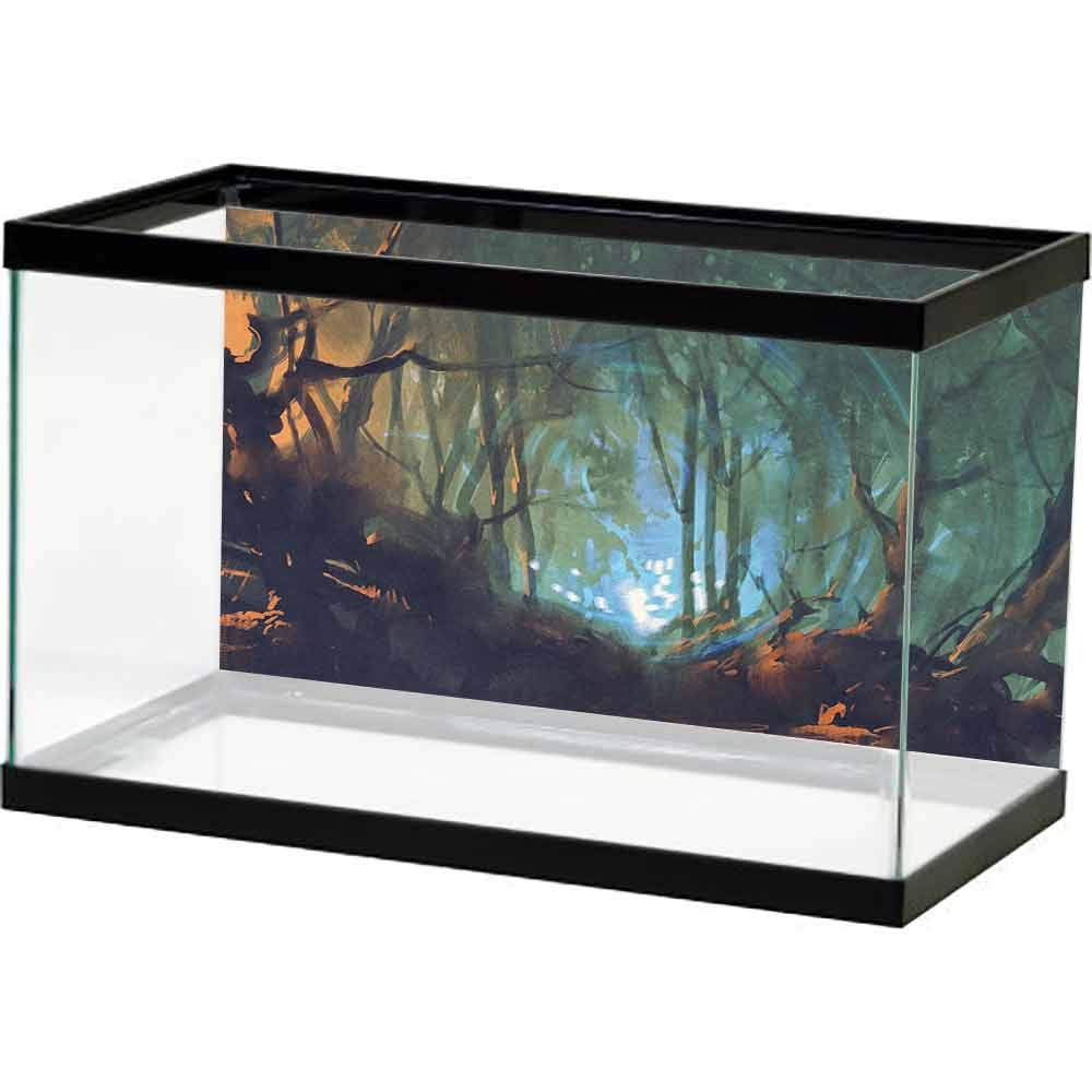 bybyhome Aquarium Fish Tank Mystic,Whimsical Forest Reflection in Lake Deep Dark Mystical Artsy Surreal Illustration,Brown Teal Decals Poster by bybyhome