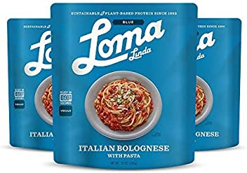 Loma Linda Blue - Vegan Complete Meal Solution - Heat & Eat Italian Bolognese (10 oz.) (Pack of 3) - Non-GMO