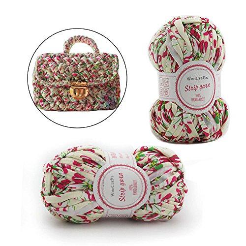 Floral Fabric T-Shirt Yarn Ribbon Knitting Crochet Chunky Yarn Thread for Rag Rugs,Baskets,Blanket,Handbag,Scarf Cloth Fancy Yarn (2 - Rug T-shirt