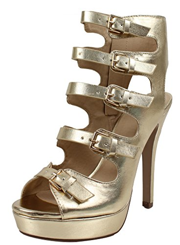Delicious Womens Open Toe Multi Strappy Open Back Platform High Heel Sandals Gold jGM1m6