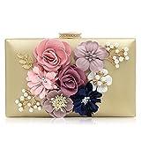 Paradox Women Flower Clutches Evening Handbags Wedding Clutch Purse, Rose Gold (Gold)
