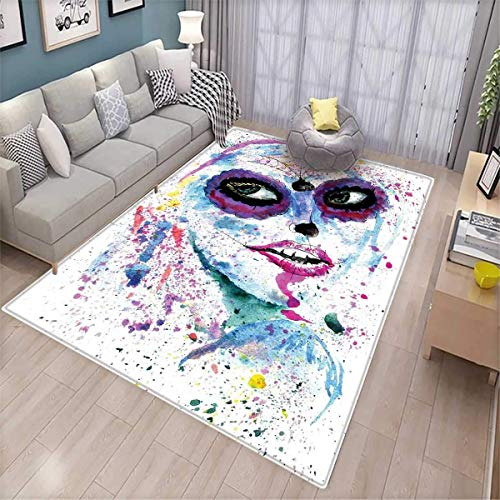 Girls Customize Door mats for Home Mat Grunge Halloween Lady with Sugar Skull Make Up Creepy Dead Face Gothic Woman Artsy Door Mat Outside Blue -