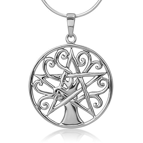 Chuvora 925 Sterling Silver Open Filigree Tree of Life Pentacle Pentagram Star Symbol Pendant Necklace 18