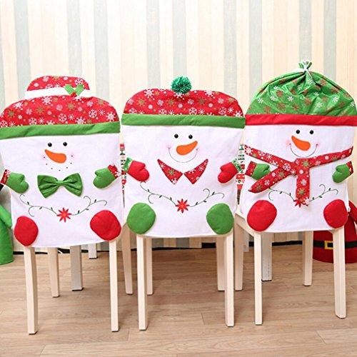 Iuhan Non-woven Christmas Snowman Chair Set Restaurant Hotel Chair Cover Hat Set (B)